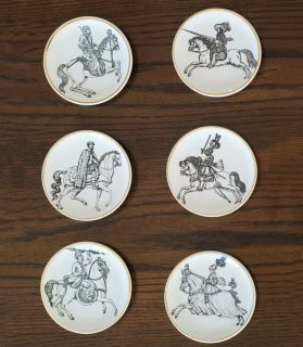 fornasetti cavalieri set of 6 gilded small plates from canada