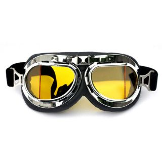 New WWII Motorcycle Scooter Pilot Cruiser Goggles Tinted Chrome Yellow