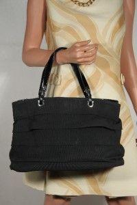 SALVATORE FERRAGAMO Italian Black Gros Grain & Patent Leather TOTE