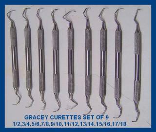 PC Gracey Curette Set Dental Instruments German Stainless Steel