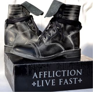 Affliction Mens Natural Lace Up Motorcycle Boots Biker AC303 New