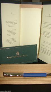 Graf Von Faber Castell Guilloche Indigo Fountain Pen Broad New in Box