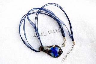 6pcs Flower Leaf Murano Glass Pendants Silk Necklace Jewelry