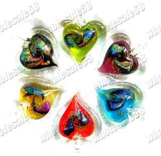 JEWELRY 12PCS Fashion colors Foil Murano Heart Glass Pendants Hot