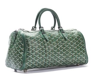 Goyard Green Monogram Chevron Coated Croisiere 35 Satchel Bag