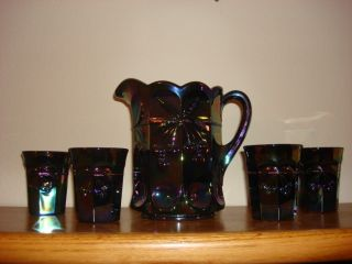 glass water pitcher set Perfect condition pitcher and four glasses