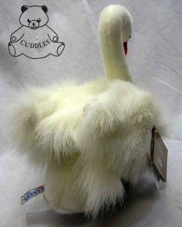 Swan Bird White Hansa Stuffed Animal Plush Toy White Realistic Sitting