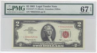 1963 $2 Legal Tender Note Fr 1513 Star Note PMG 67 EPQ Superb Gem UNC