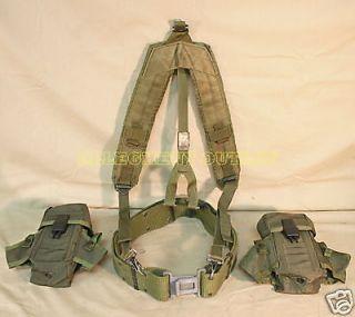Grey Buckle Army Military L Web Pistol Belt Suspenders Pouch Set