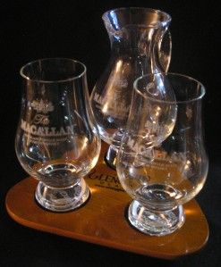 MACALLAN GLENCAIRN SCOTCH WHISKY TWO GLASS & IONA WATER PITCHER FLIGHT