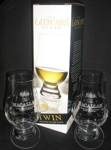 Macallan Twin Pack Glencairn Scotch Malt Whisky Glasses w Two Watch