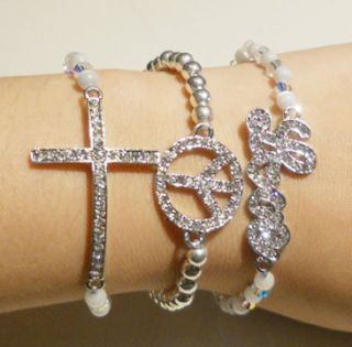 Arm Candy Set, Silver Colored Cross, Peace, Love Sideways Stretch