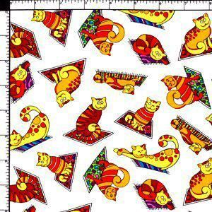 Happy Kitty Cats Magic Carpet Ride Pet Cotton Sewing Quilting Fabric