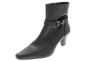 Anne Klein NEW Grantham Black Leather Embellished Heels Ankle Boots