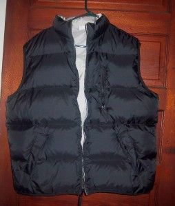 Mens Old Navy Black Gray Reversible Down Puffer Vest XL