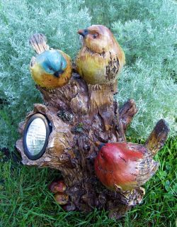 Solar Light Tree Stump with 3 Colorful Birds Great Patio or Garden