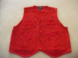 Womens Red Christmas Sweater Vest Large New