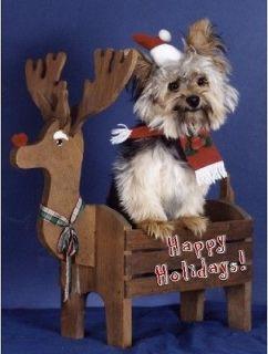 Pet Christmas CardsDog Yorkshire Terrier Yorkie Reindeer