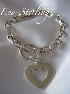 Retired Silpada Sterling Silver Open Heart Link Toggle Bracelet B0992