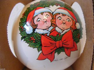 GLASS ORNAMENT 1981 CHRISTMAS HAPPY HOLIDAYS CAMPBELLS SOUP KIDS