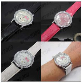 Cute HelloKitty Quartz Leather Wrist Bracelet Watch for Lady Girls