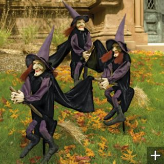 Staked Halloween Witches Made by Grandin Road Halloween Decor Scary