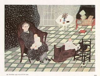 Grandma Moses Print Self Portrait with Babies Rockabye