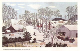 Grandma Moses Print Early Springtime on The Farm