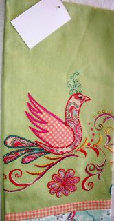 One Artistic Accents Kitchen Towel Embroidered Green Bird New