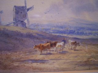 Superb Henry Earp SR Landscape Painting 1880 Clayton Windmills Cows