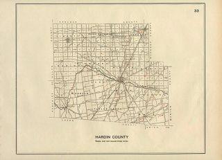 Hardin County Ohio Authentic Vintage Map of Prehistoric Indian Sites