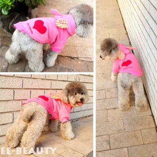 Cute Pink Rabbit Red Heart Dog Clothes Pets Puppy Hoodie Coat Jumpsuit
