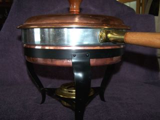 Vintage Copper Aluminum Stainless Chafing Dish With Wood Handles Brass