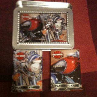 Harley Davidson Motorcycle 2 decks playing cards tin case; US playing