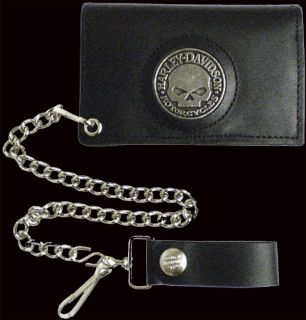 HARLEY DAVIDSON WILLIE G SKULL TRIFOLD LEATHER W CHAIN WALLET