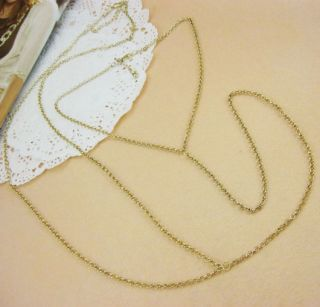 Body Jewelry Gold Necklace to Waist Belly Belt Cross Link Thin Waist
