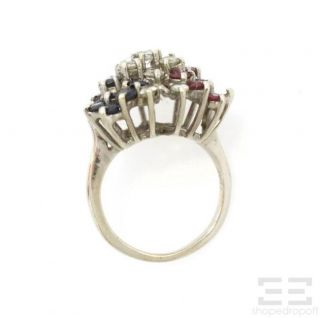 14k White Gold Diamond Ruby Sapphire Butterfly Ring Size 4 25