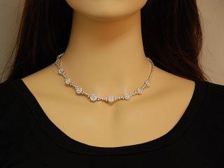 Gregg Ruth 18K White Gold Diamond Flower Necklace