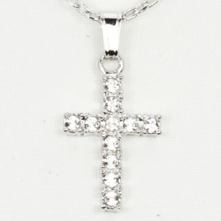 Ajuna 14k White Gold Filled Crystal Cross Pendant Necklace