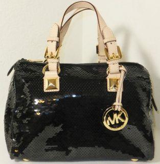 Michael Kors Grayson Sequins Medium Satchel Black MSRP $368 Stunning
