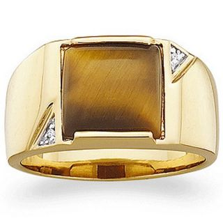 Mens Genuine Tiger Eye 14k Gold Over Sterling Silver Ring