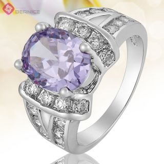 Jewelry Tanzanite White Gold Plated Engagement Cocktail Ring Size 8 Q