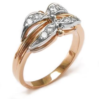 Russian Jewelry 14k Rose Gold Genuine G VS2 Diamond Ring Free