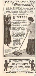 1912 Bissell Carpet Sweeper Cleaner Hartshorn Shade Rollers Vintage
