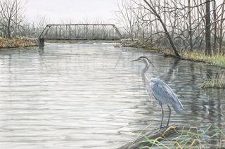 Frase Original Oil Painting Great Blue Heron River Landscape Bridge