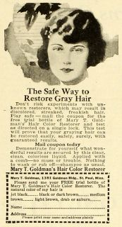 1922 Ad Mary T. Goldman Gray Hair Care Color Restorer Dye Beauty St