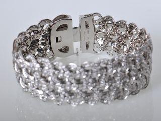 Versace 18K White Gold Pave Diamond Weave Bracelet