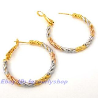 Twisted Wire Circle 18K Tricolor Gold GEP Hoop Earring