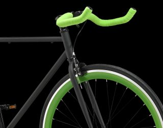 Single Speed Fixed Gear Track Road Bike Black Green Size 56