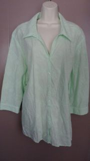Women Plus Sag Harbor Green Embroidered Top Size 3X Excellent Shape